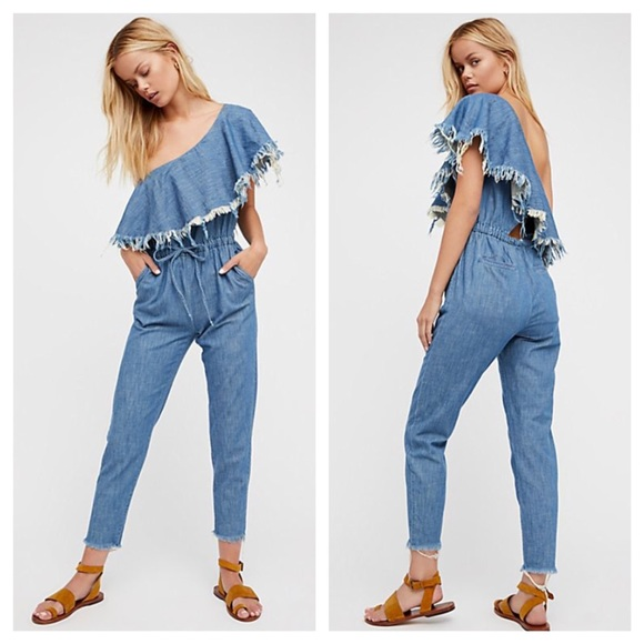 48a00a87066 Blank NYC One Shoulder Frayed DenimRuffle Jumpsuit